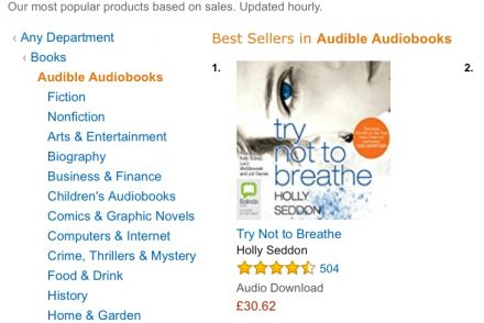 screenshot of Try Not to Breathe bestselling audiobook on Amazon UK