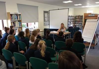 Holly Seddon speaking to Colyton Grammar pupils March 2018